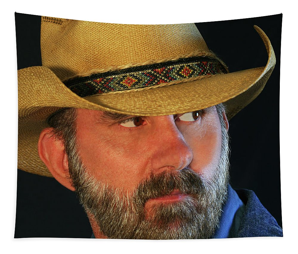 Cowboy Tapestry featuring the photograph A Bearded Cowboy by Derrick Neill