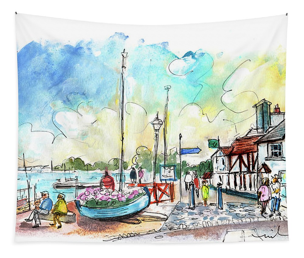 Travel Tapestry featuring the painting A Beautiful Street In Watchet by Miki De Goodaboom