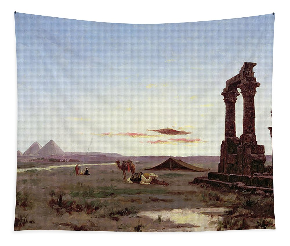 Bedouin Tapestry featuring the painting A Bedouin Encampment By A Ruined Temple by Alexandre Gabriel Decamps