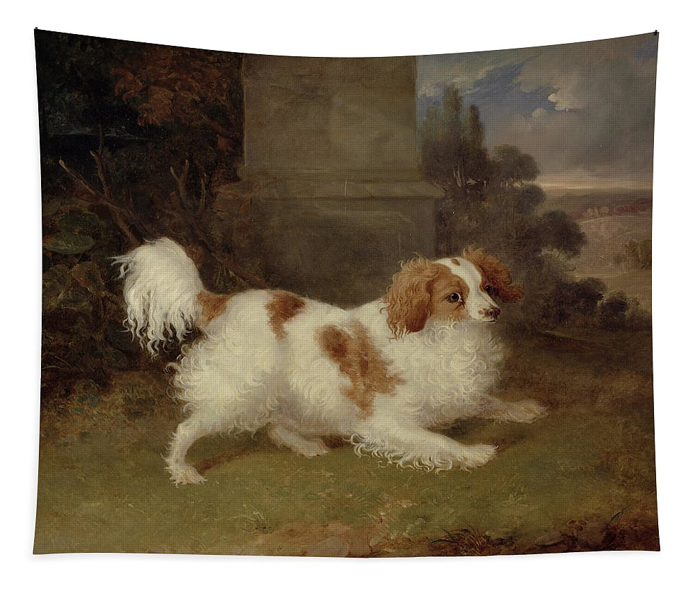 Blenheim Tapestry featuring the painting A Blenheim Spaniel by William Webb