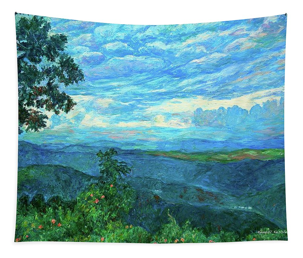 Mountains Tapestry featuring the painting A Break in the Clouds by Kendall Kessler