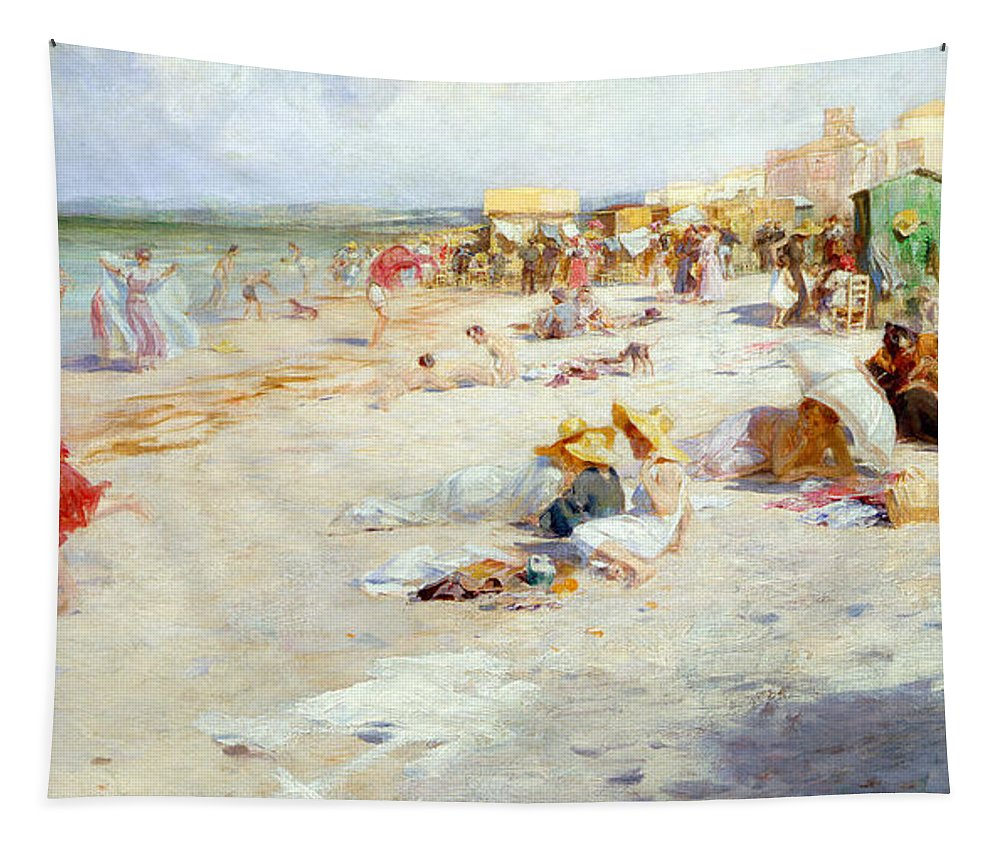 Busy Tapestry featuring the painting A Busy Beach In Summer by Alois Hans Schram