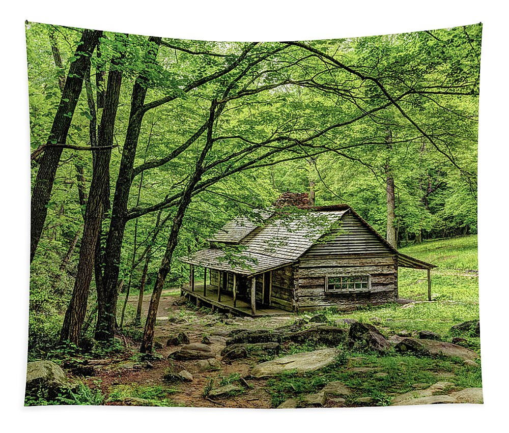 Great Smoky Mountains National Park Tapestry featuring the photograph A Cabin In The Woods by Kay Brewer