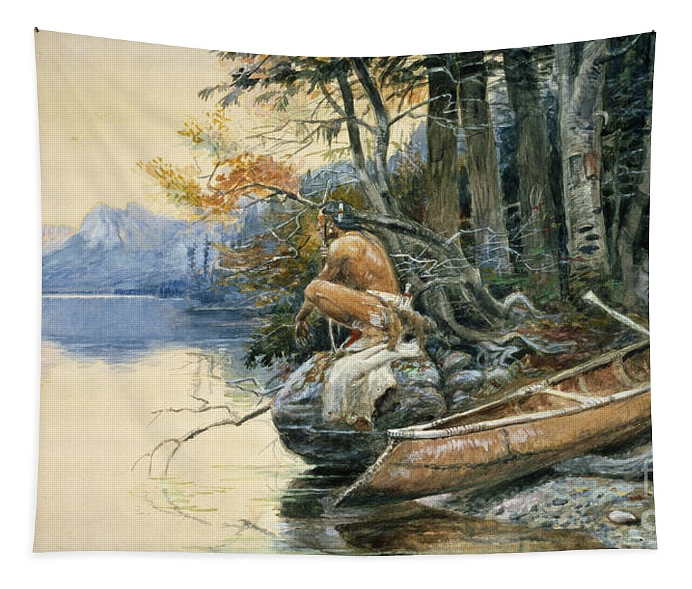 A Camp Site By The Lake Tapestry featuring the painting A Camp Site By The Lake by Charles Marion Russell