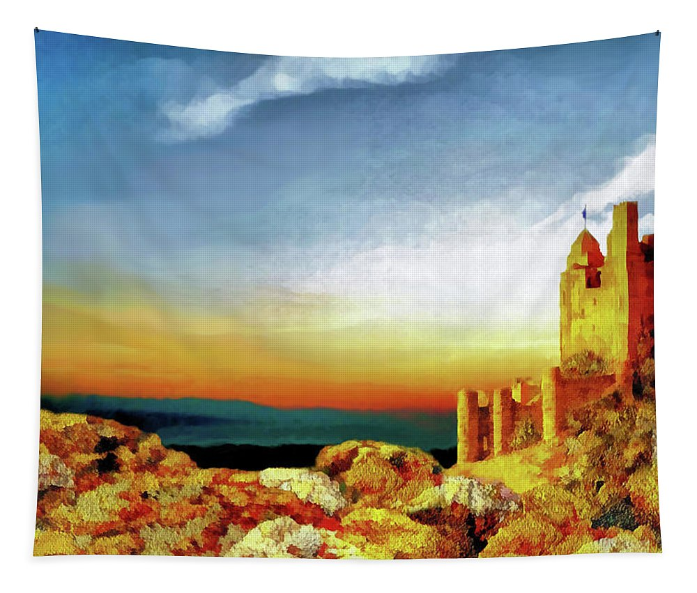 Landscape Tapestry featuring the painting A Castle In Spain by Valerie Anne Kelly
