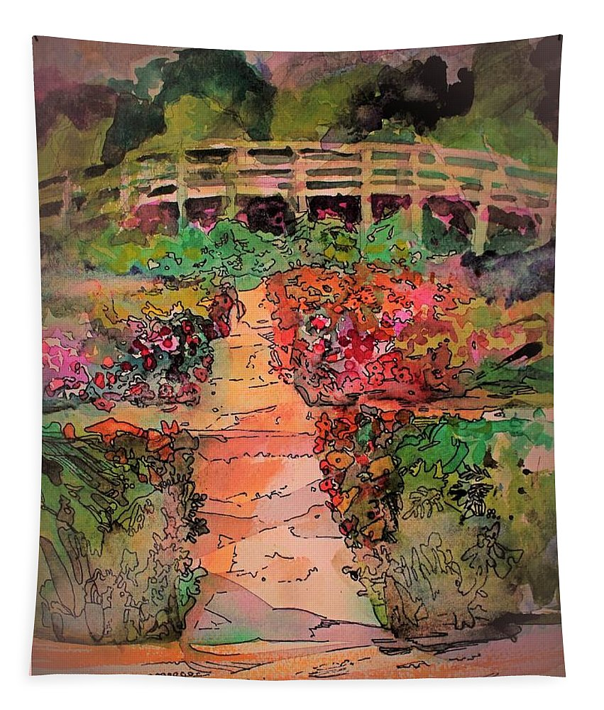 Forest Tapestry featuring the painting A Charming Path by Mindy Newman