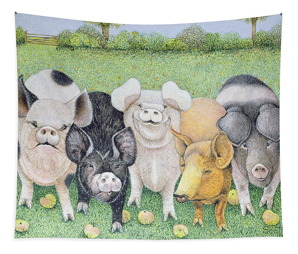 Pig Tapestry featuring the painting A Chorus Line by Pat Scott