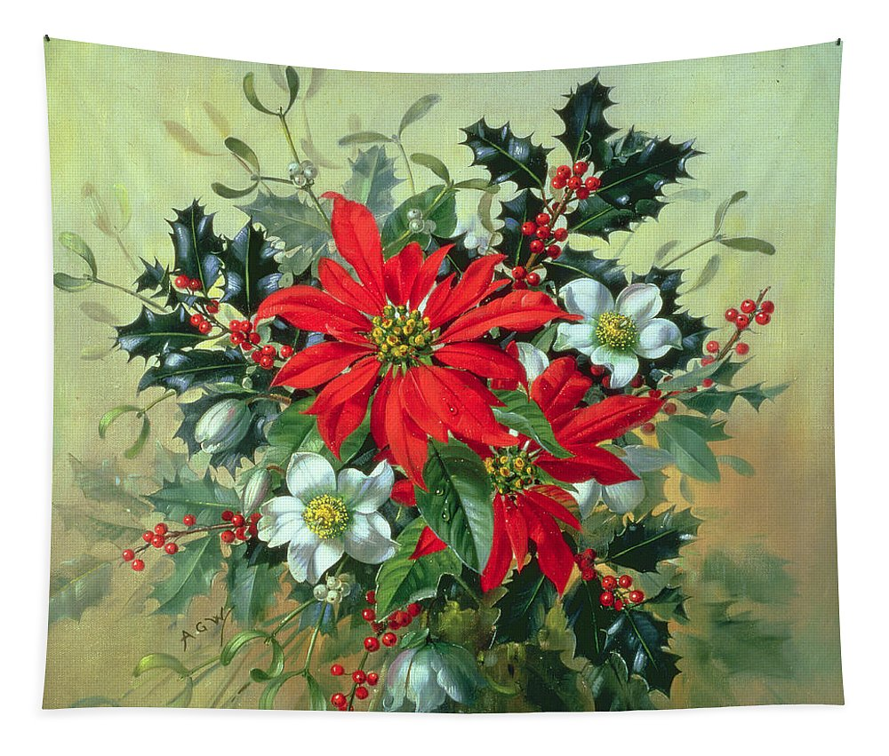 Still Life Tapestry featuring the painting A Christmas Arrangement With Holly Mistletoe And Other Winter Flowers by Albert Williams