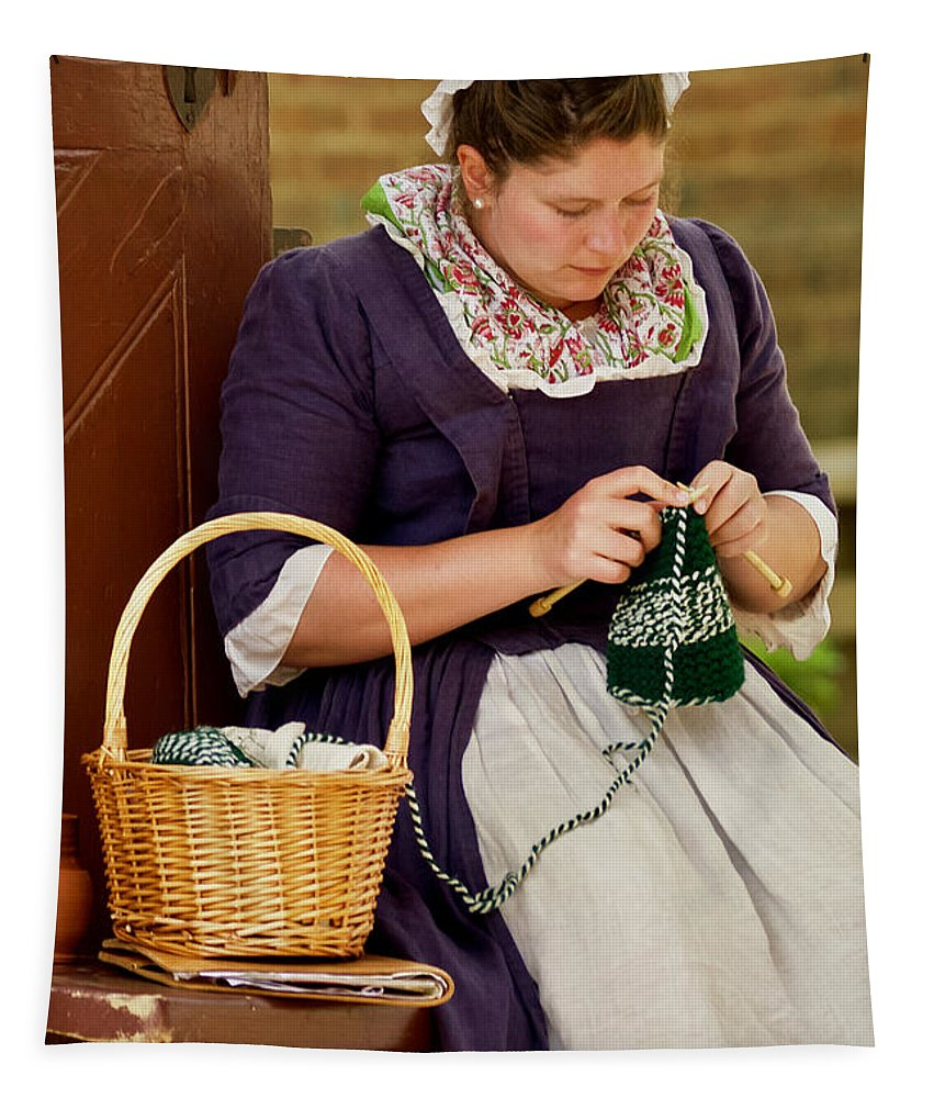 Colonial Williamsburg Tapestry featuring the photograph A Colonial Lady Knits by Rachel Morrison