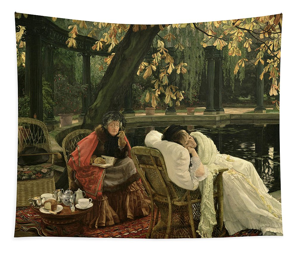 Illness; Lazing; Teatime; Unwell; Invalid; Nurse; Chaperone; Horse; Chestnut; Tree; Victorian; English; Girl; Colonnade; Pool; Autumn; Resting; Tissot; Tissot Garden; St John Wood Tapestry featuring the painting A Convalescent by James Jacques Joseph Tissot