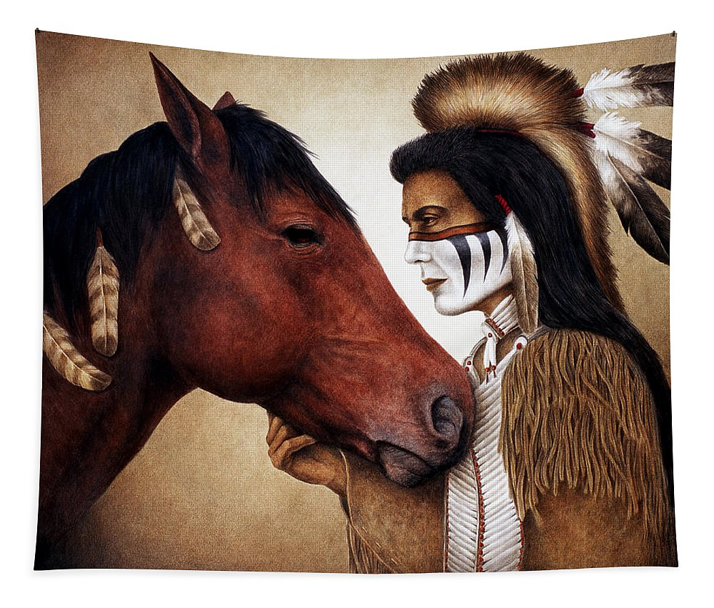 Horse Tapestry featuring the painting A Conversation by Pat Erickson