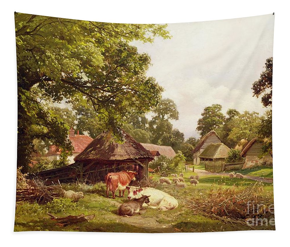 Cottage Tapestry featuring the painting A Cottage Home In Surrey by Edward Henry Holder