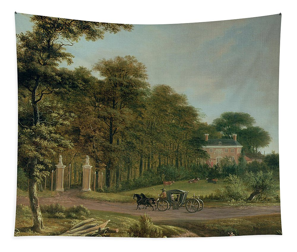 Country Tapestry featuring the painting A Country House by J Hackaert