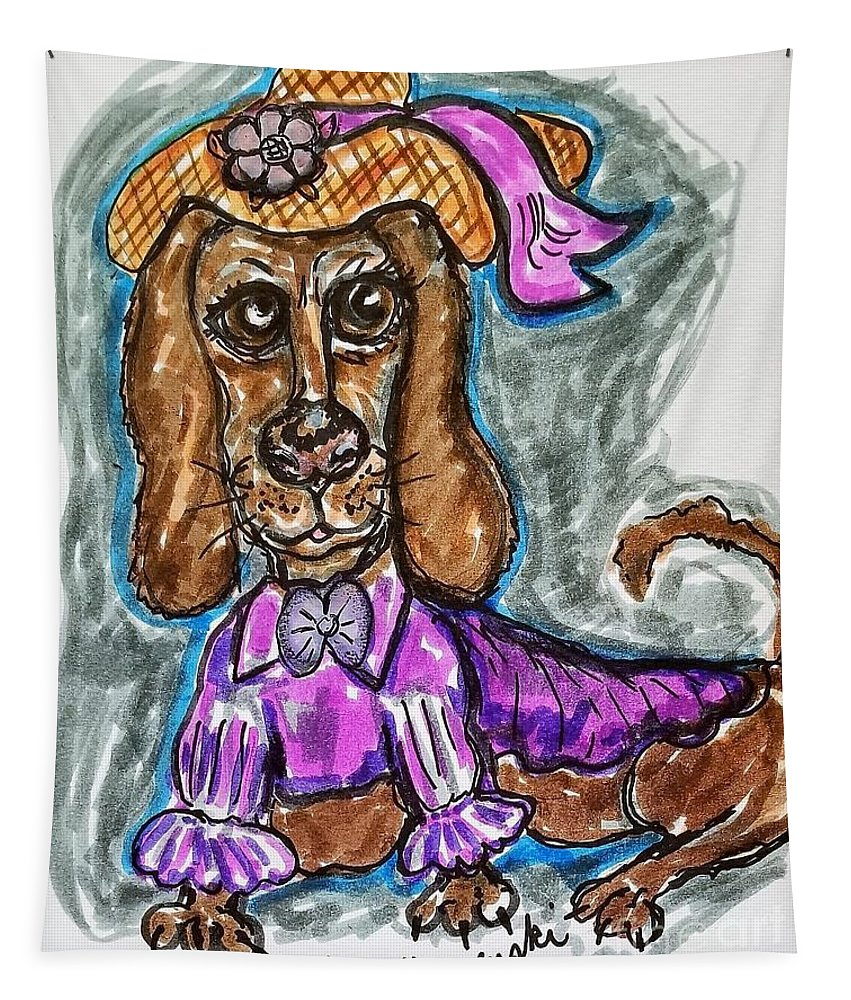 Dachshund Tapestry featuring the mixed media A Dachshund Easter by Geraldine Myszenski