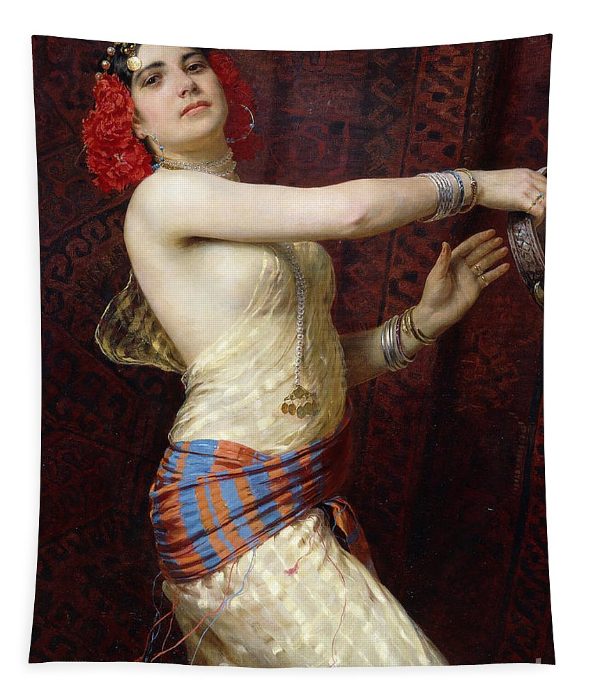 A Damascan Dancer Tapestry featuring the painting A Damascan Dancer by Otto Pilny