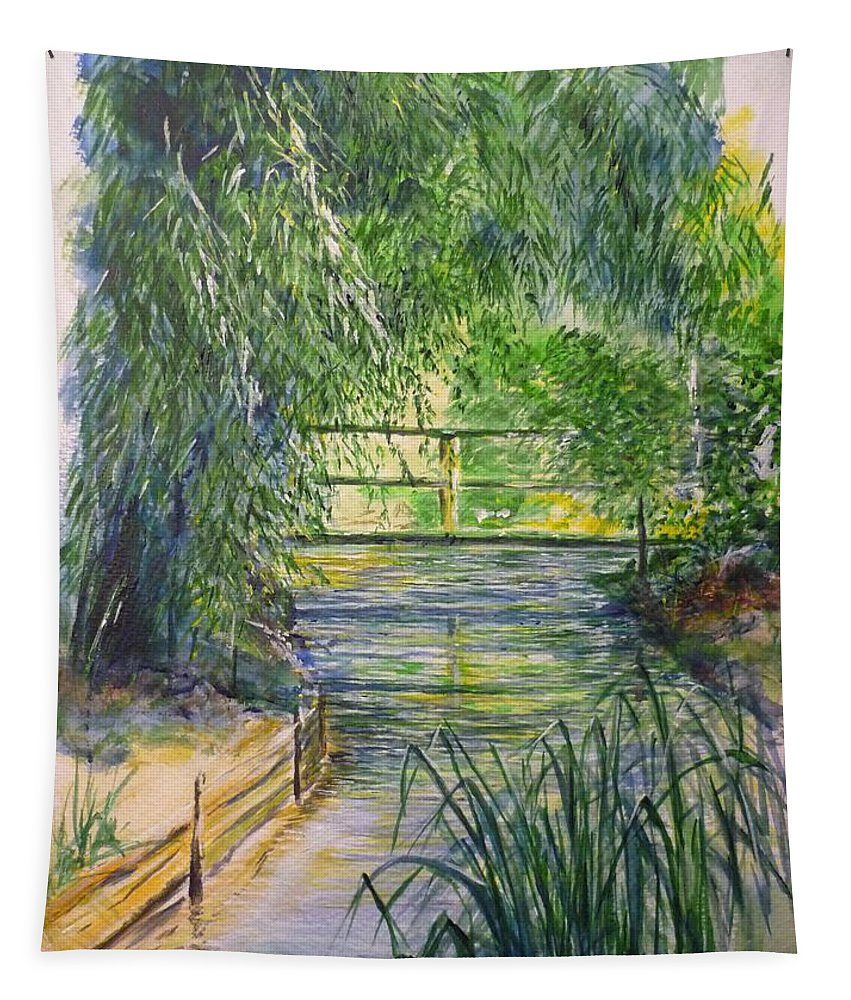 Giverny Tapestry featuring the painting A Day At Giverny by Lizzy Forrester