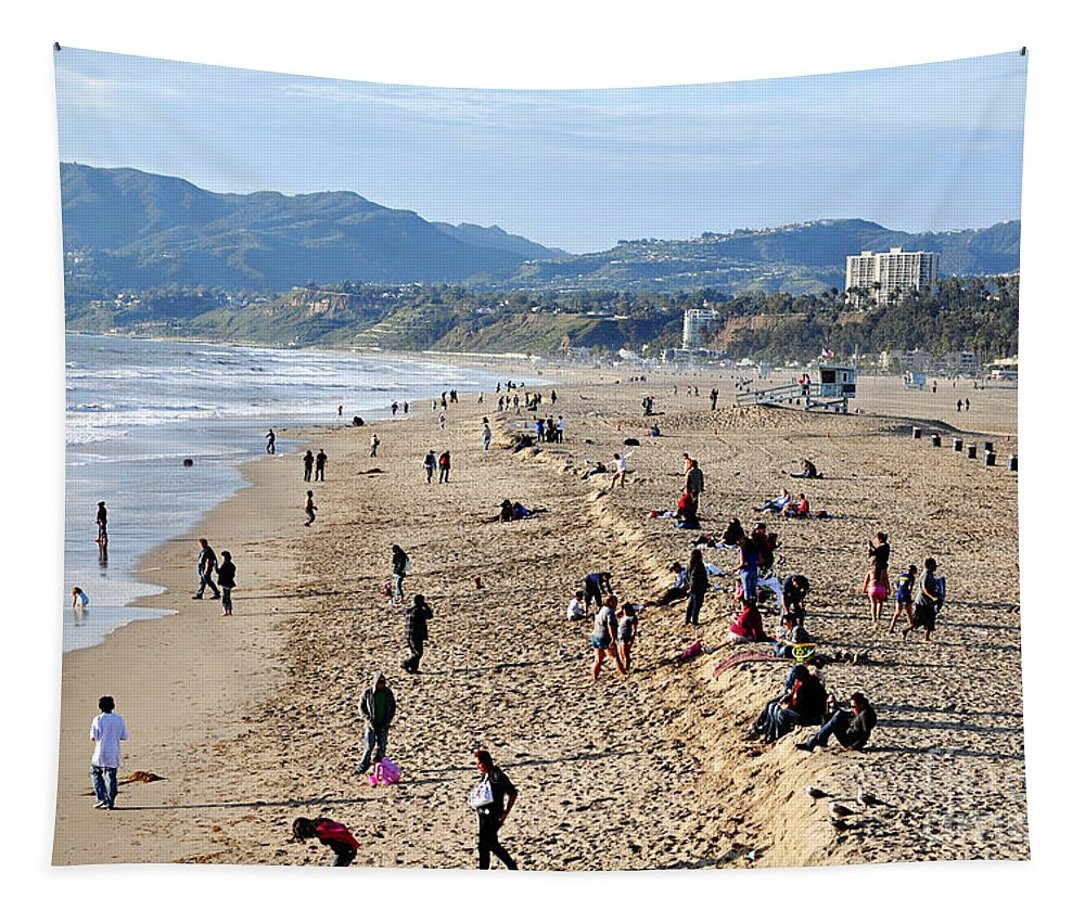 Clay Tapestry featuring the photograph A Day At The Beach In Santa Monica by Clayton Bruster