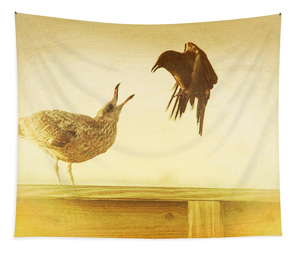 Tough Birds Tapestry featuring the photograph A Disagreement by Karol Livote