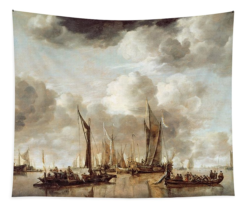 Dutch Tapestry featuring the painting A Dutch Yacht Firing A Salute As A Barge Pulls Away by Jan van de Capelle
