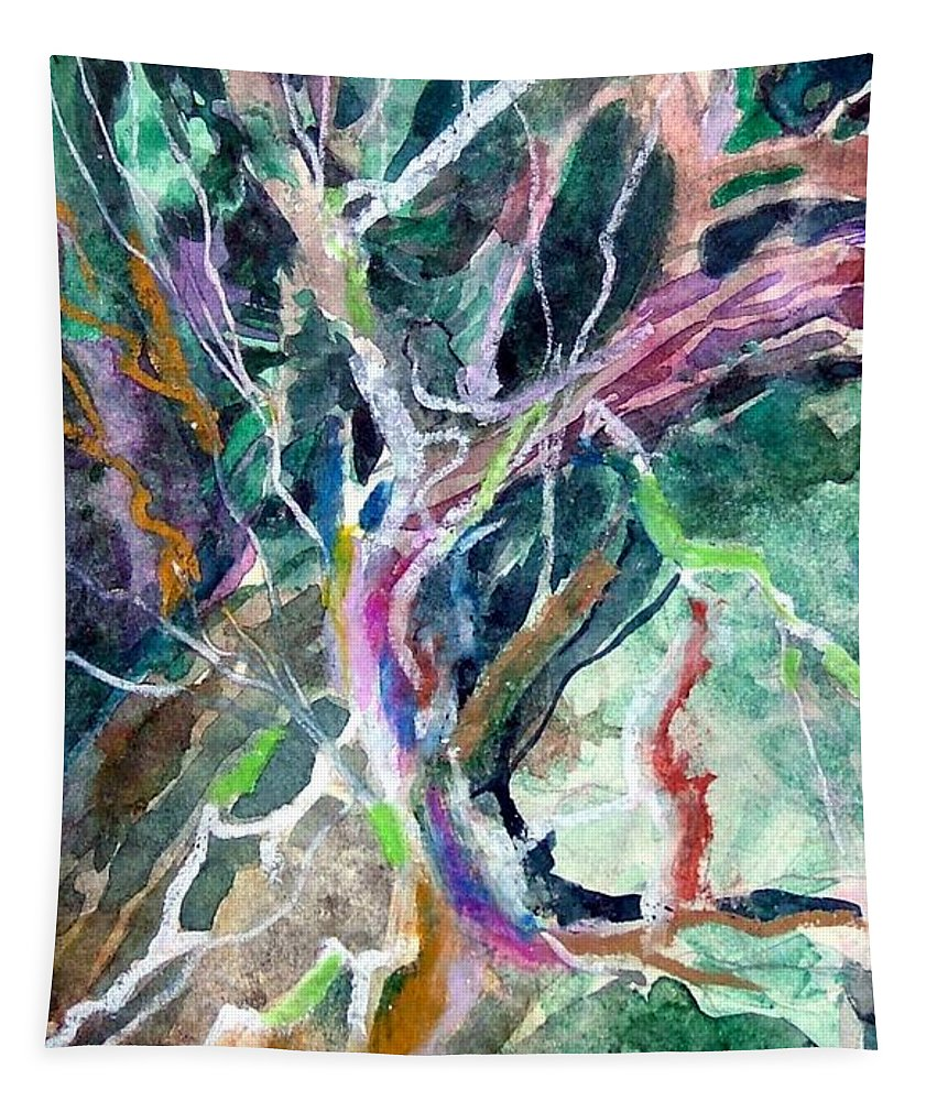 Tree Tapestry featuring the painting A Dying Tree by Mindy Newman