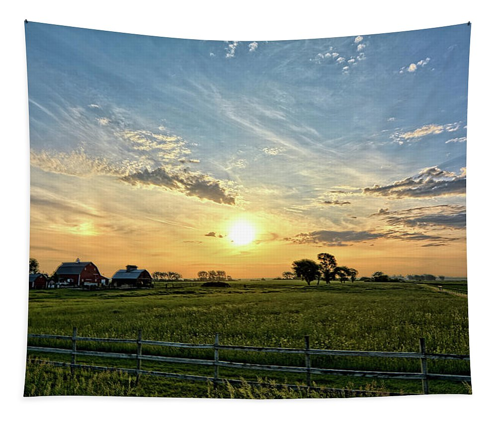 Sunrise Tapestry featuring the photograph A Farmer's Morning 2 by Bonfire Photography