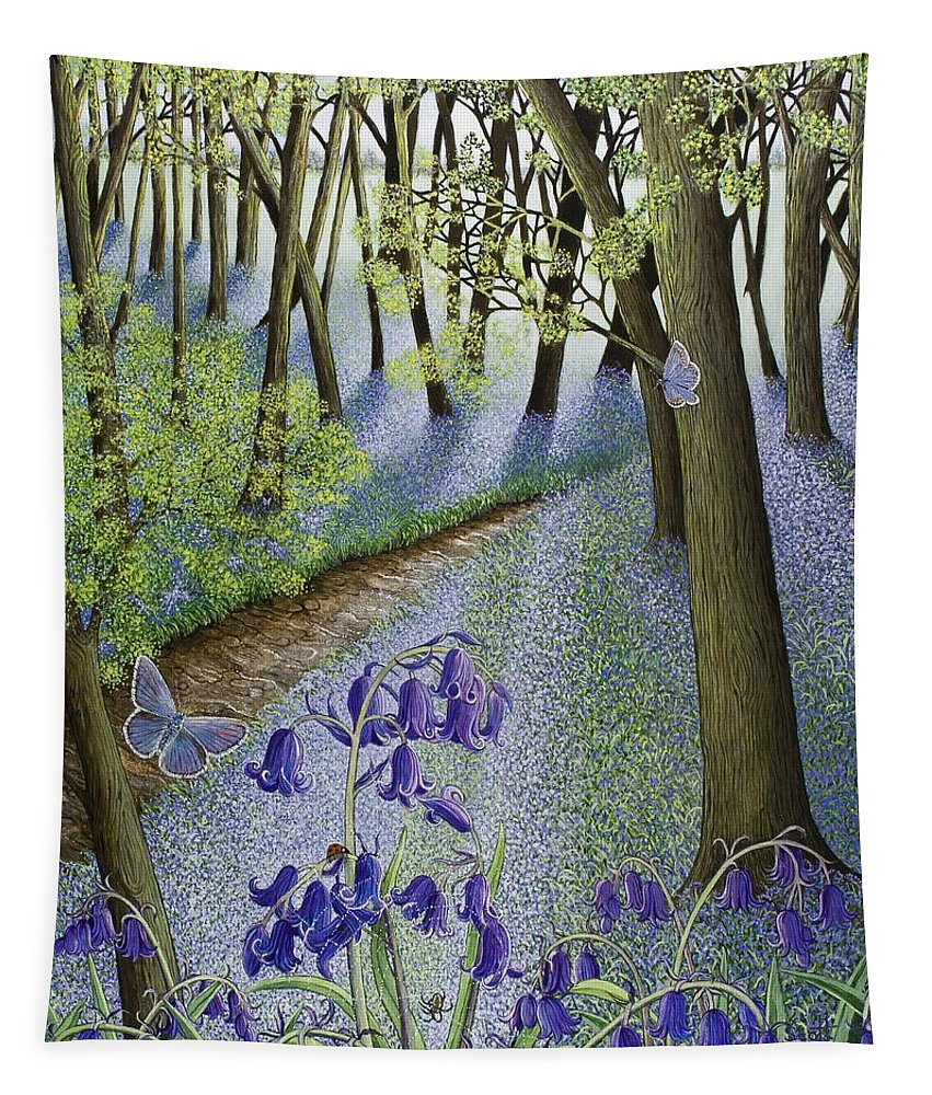 Woods; Flowers; Bluebells; Bluebell; Flower; Tree; Trees Tapestry featuring the painting A Fresh Start by Pat Scott