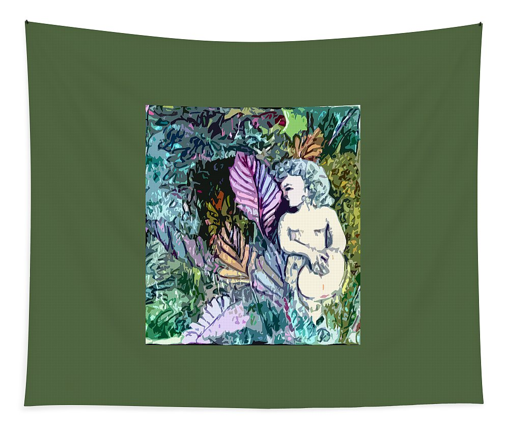 Fresco Tapestry featuring the painting A Garden Muse by Mindy Newman