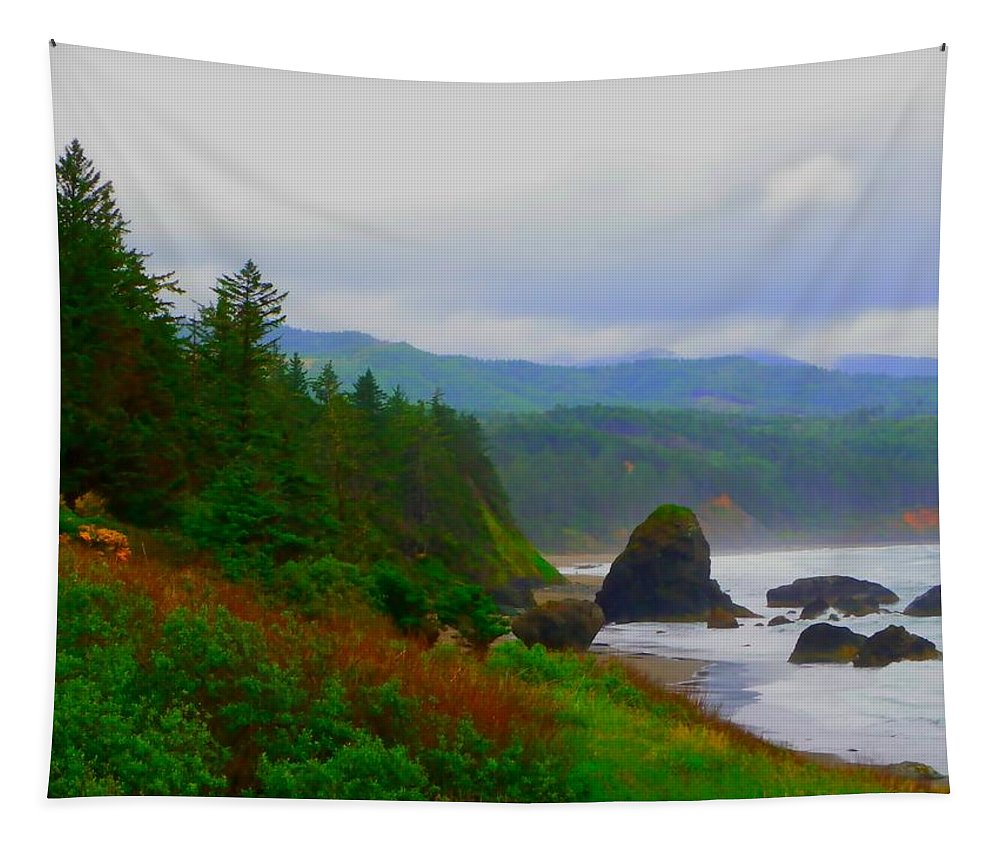 Outside Tapestry featuring the photograph A Glimpse Of Oregon by Charleen Treasures