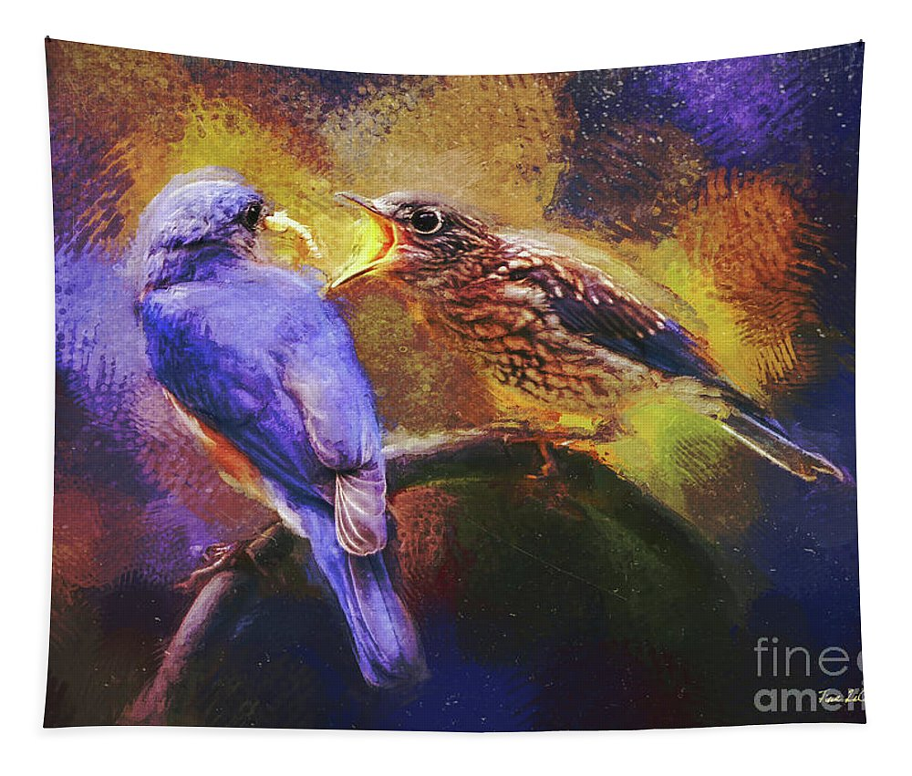 Bluebird Tapestry featuring the digital art A Healthy Dose by Tina LeCour