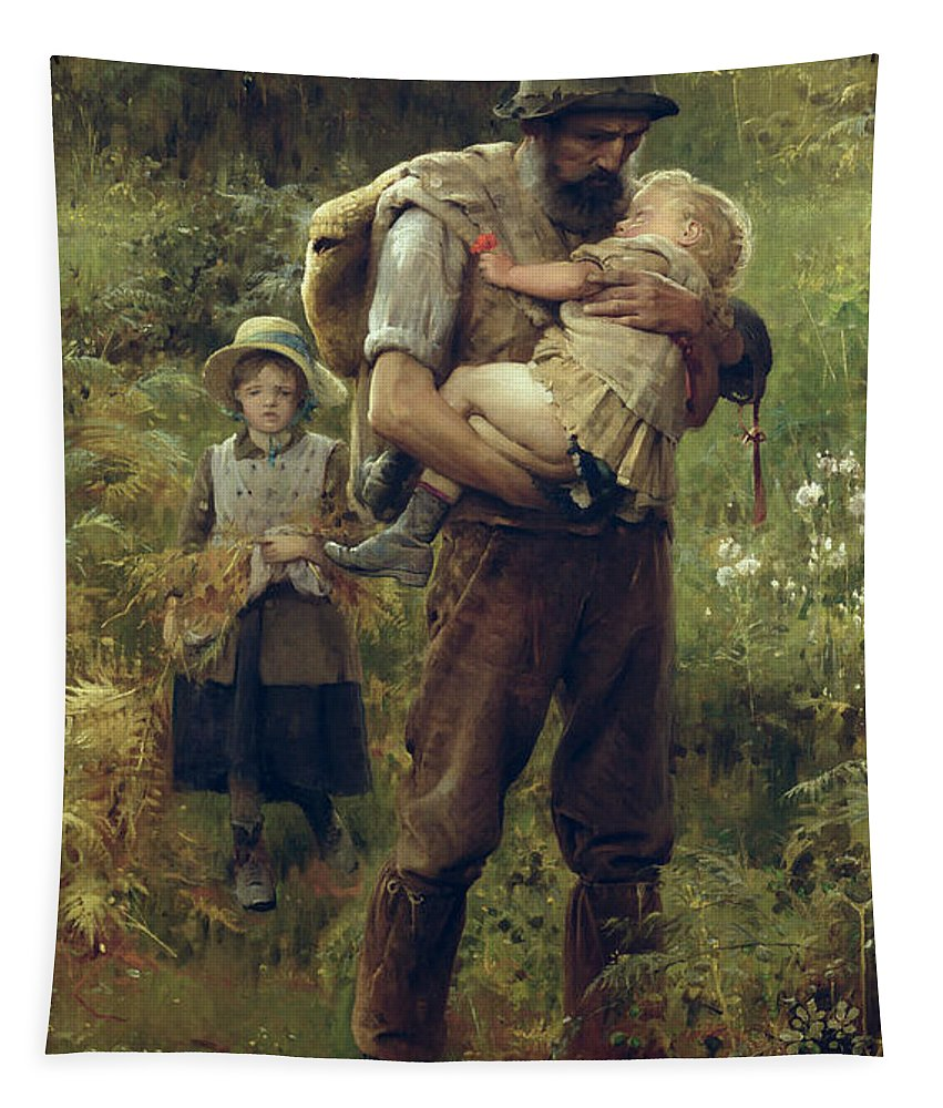 Heavy Tapestry featuring the painting A Heavy Burden by Arthur Hacker