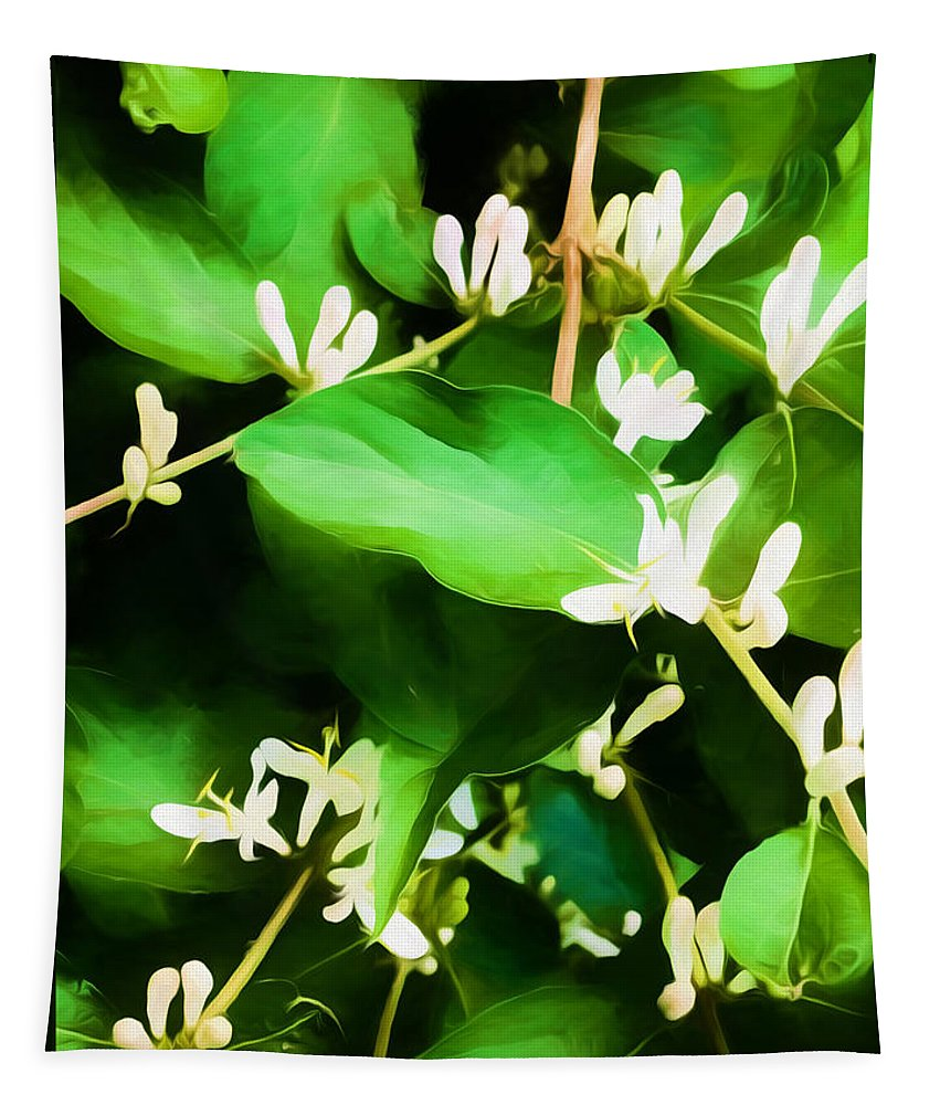 Photography Tapestry featuring the mixed media A Honeysuckle Painting by Debra Lynch