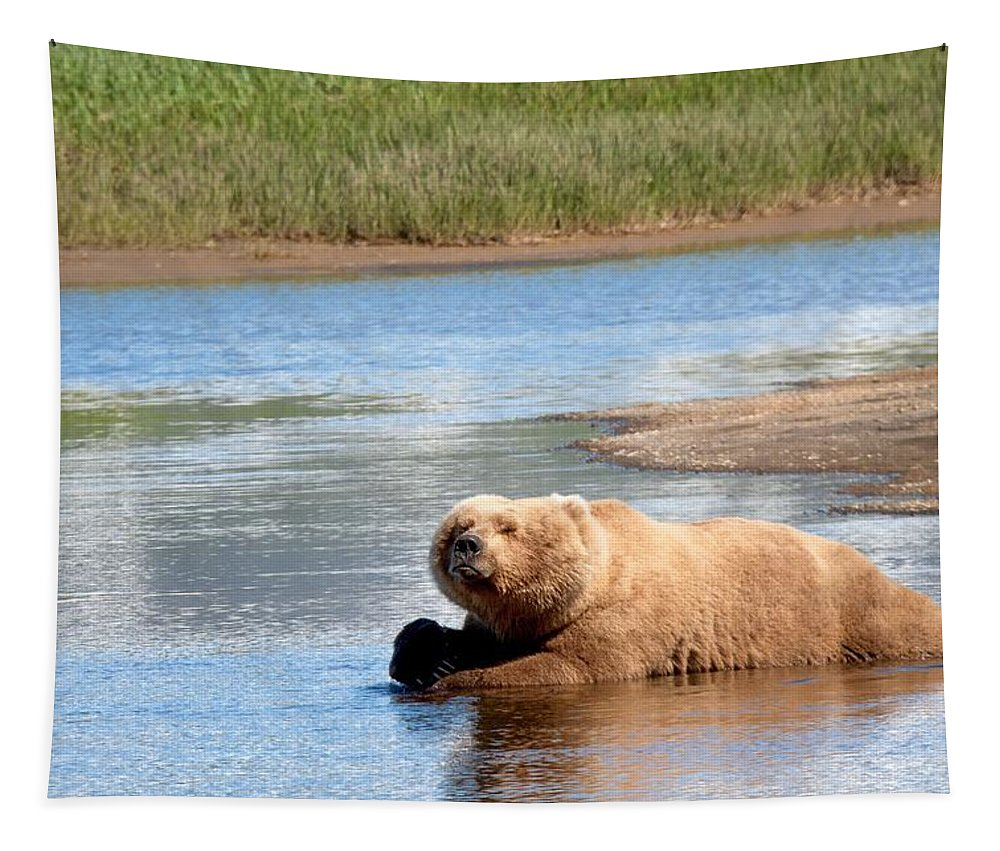 Animals Tapestry featuring the digital art A Hot Day In The Hallo Bay Katmai National Park Preserve by OLena Art Brand