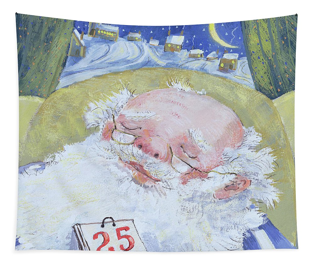 Sleeping Tapestry featuring the painting A Job Well Done by David Cooke