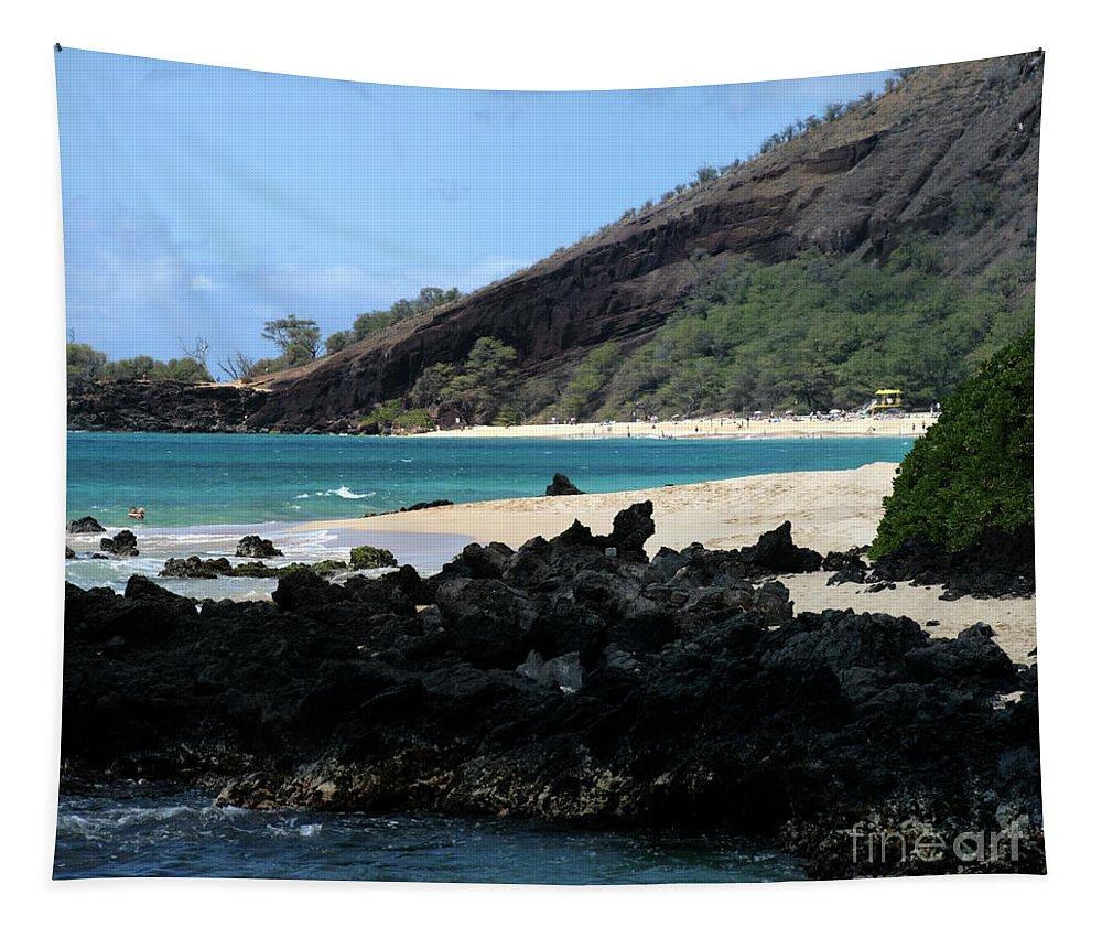 Aloha Tapestry featuring the photograph A L O H A E Ala E Puu Olai Oneloa Big Beach Makena Maui Hawaii by Sharon Mau