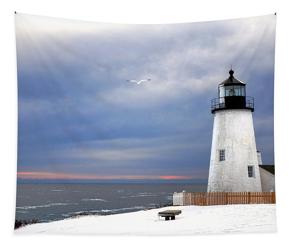 Maine Tapestry featuring the photograph A Lonely Seagull Was Flying Over The Pemaquid Point Lighthouse by Olivier Le Queinec