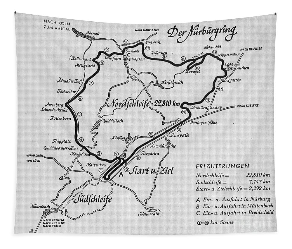 Nurburgirng Tapestry featuring the drawing A map of the Nurburgring Circuit by German School