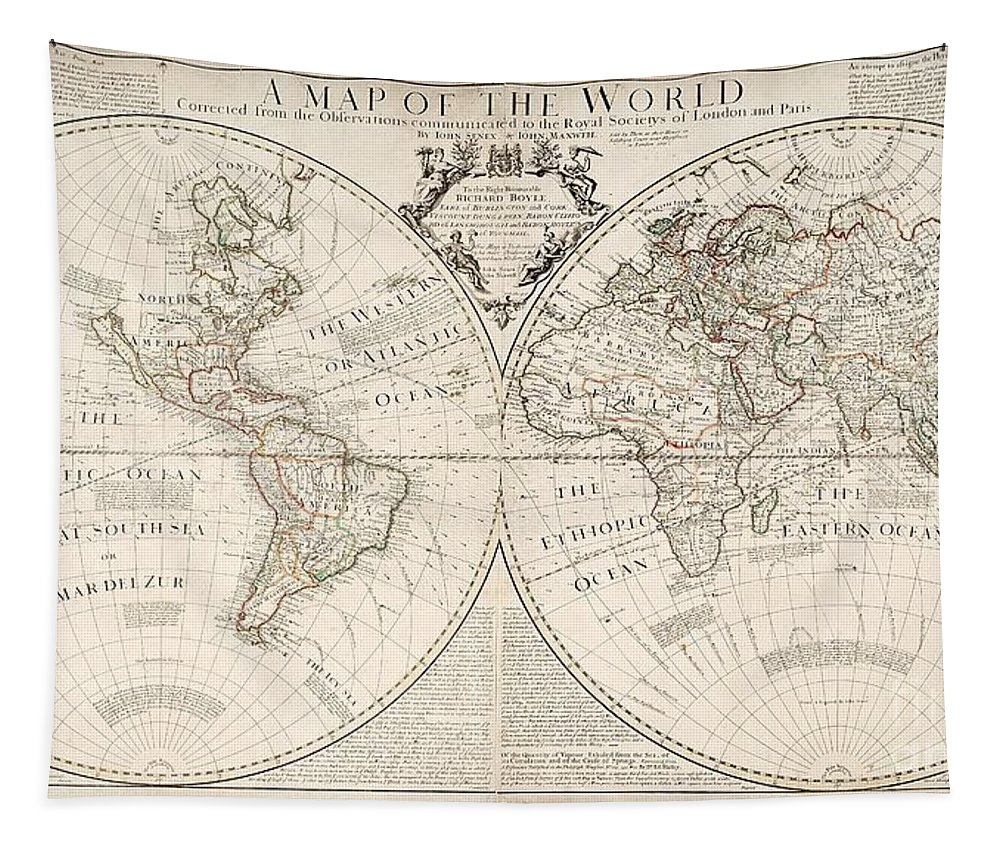 Map Tapestry featuring the painting A Map of the World by John Senex