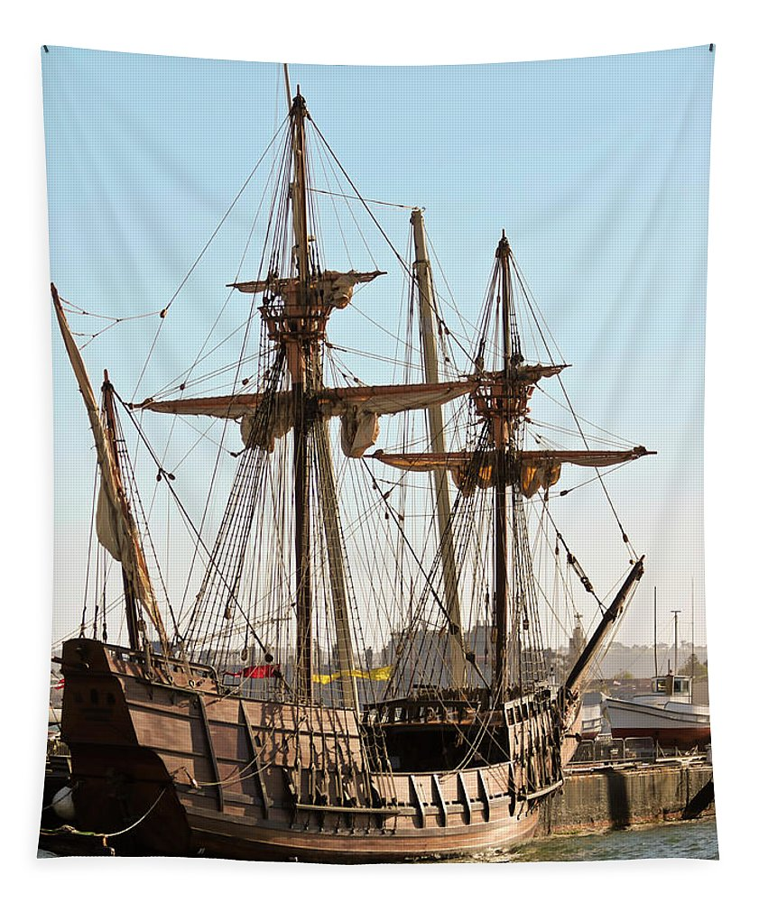 Maritime Tapestry featuring the photograph A Maritime Museum Of San Diego San Salvador Shot by Derrick Neill