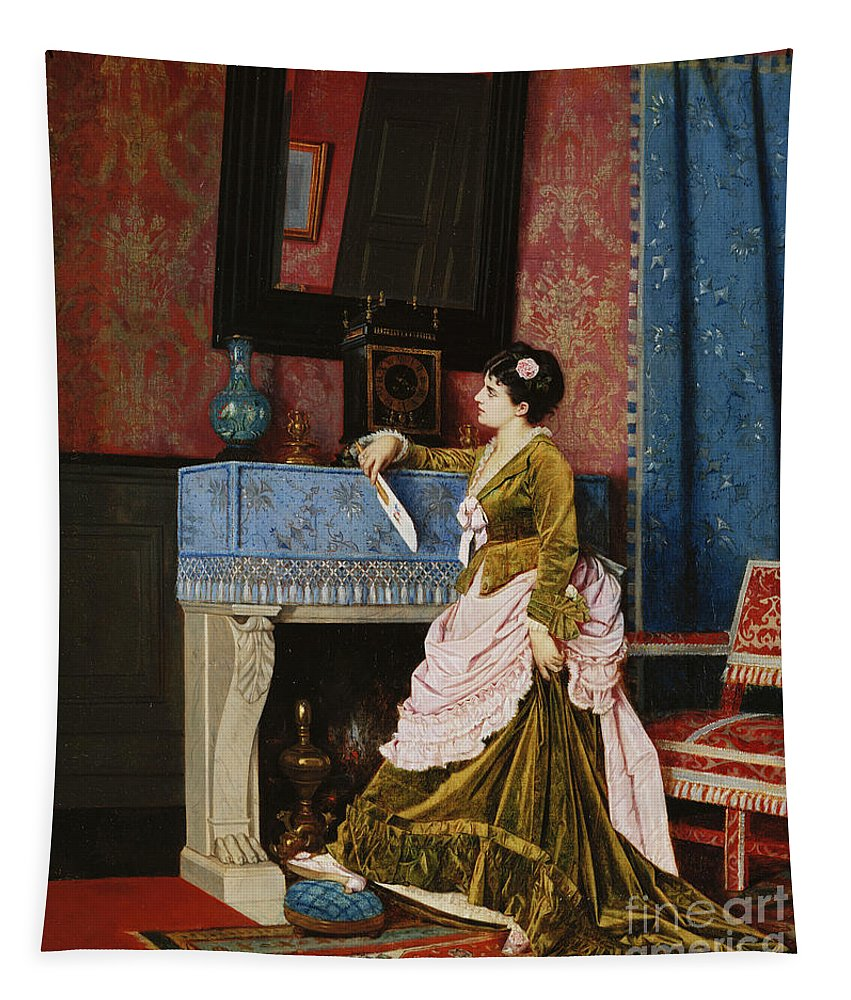 A Moments Reflection Tapestry featuring the painting A Moments Reflection by Auguste Toulmouche