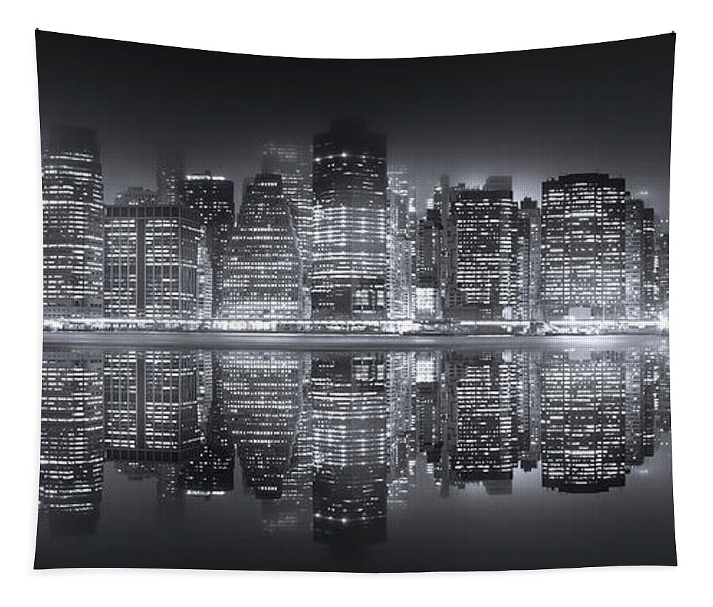 New York Tapestry featuring the photograph A New York City Night by Mark Andrew Thomas