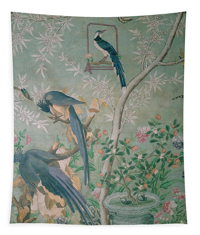 Audubon Tapestry featuring the painting A Pair Of Magpie Jays Vintage Wallpaper by John James Audubon
