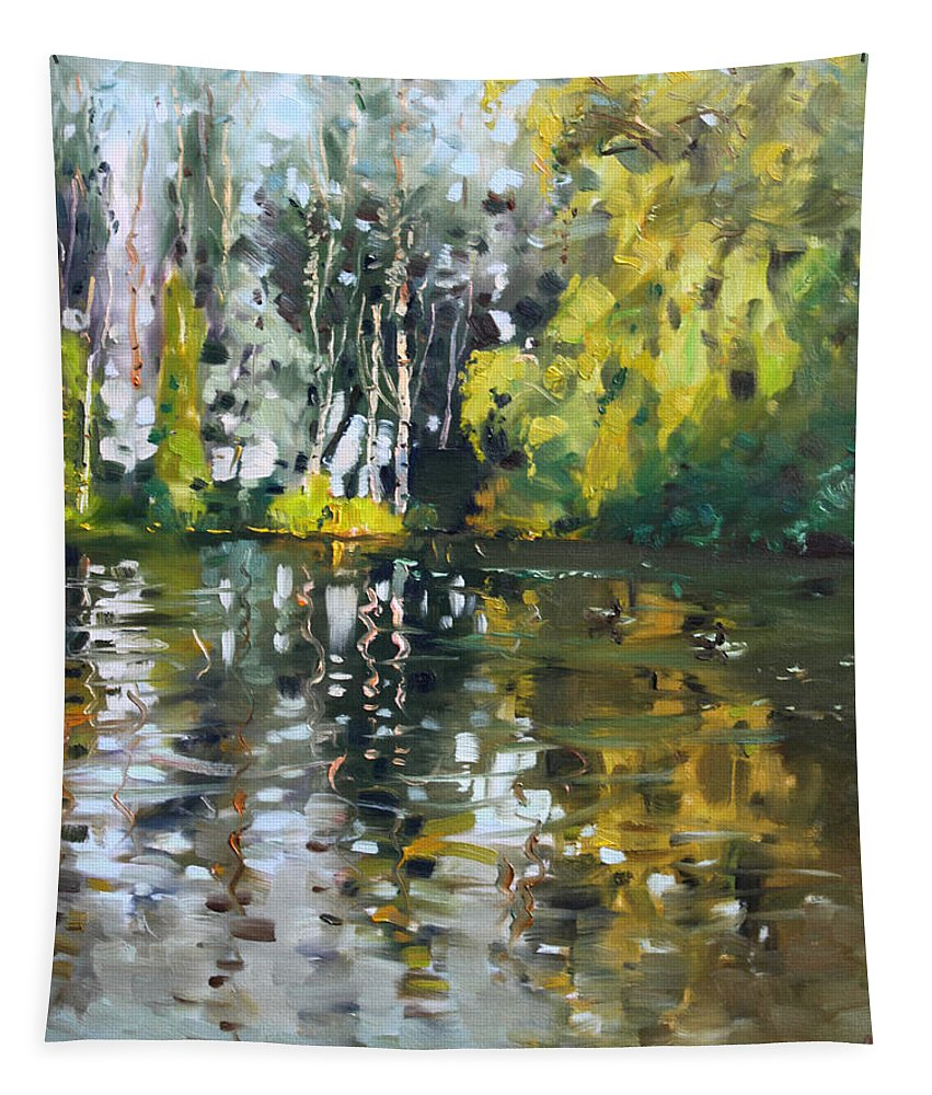 Landscape Tapestry featuring the painting A Quiet Afternoon Reflection by Ylli Haruni