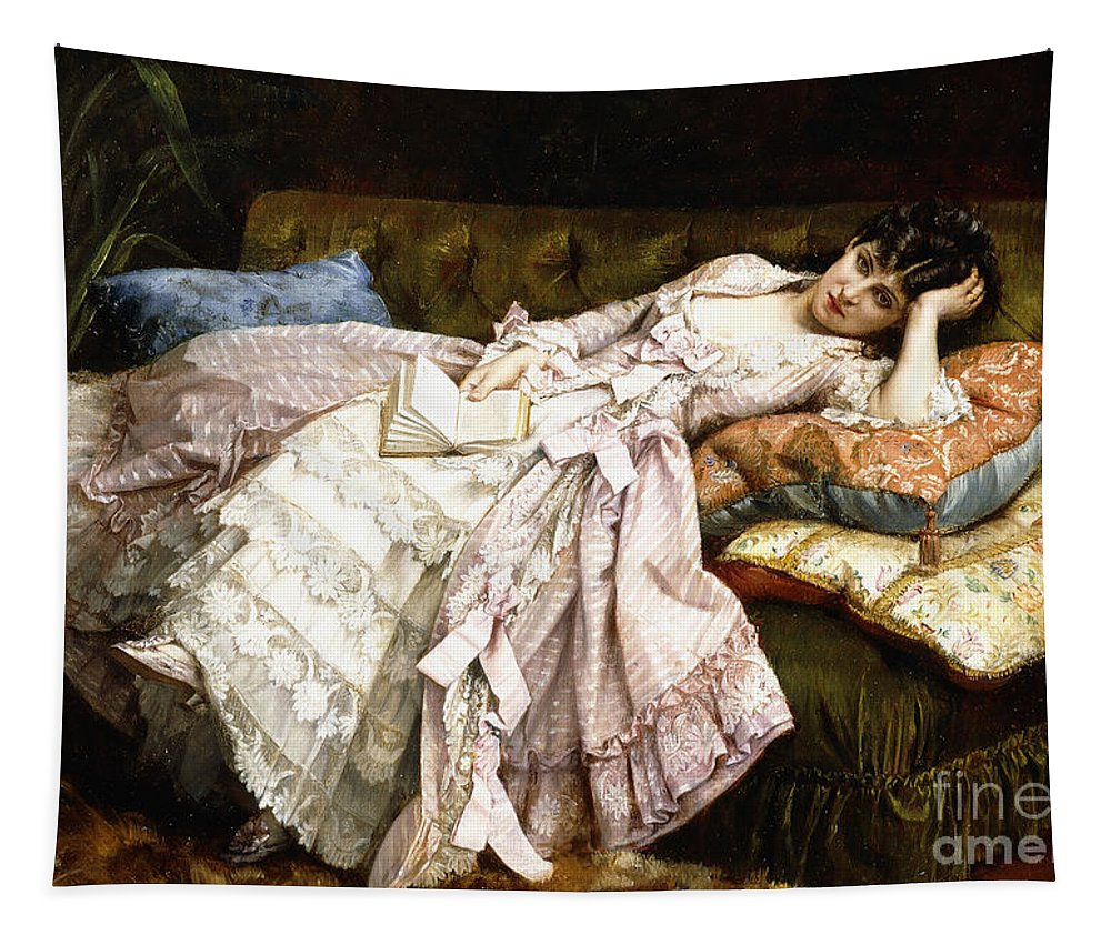 Rest Tapestry featuring the painting A Reclining Beauty by Auguste Toulmouche