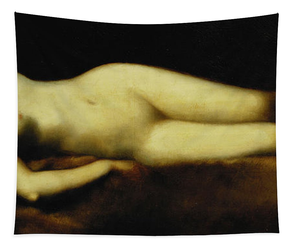 Nude Tapestry featuring the painting A Reclining Nude by Jean Jacques Henner