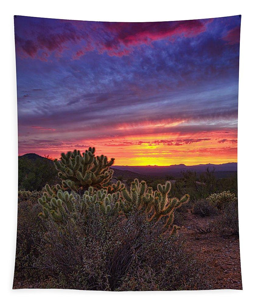 Sunset Tapestry featuring the photograph A Red Hot Desert Sunset by Saija Lehtonen