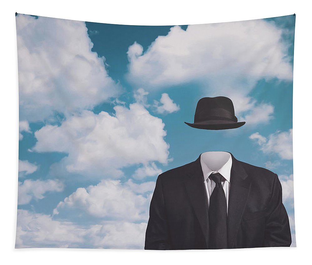 Rene Magritte Tapestry featuring the photograph A Riff on Magrittes The Pilgrim by Scott Norris