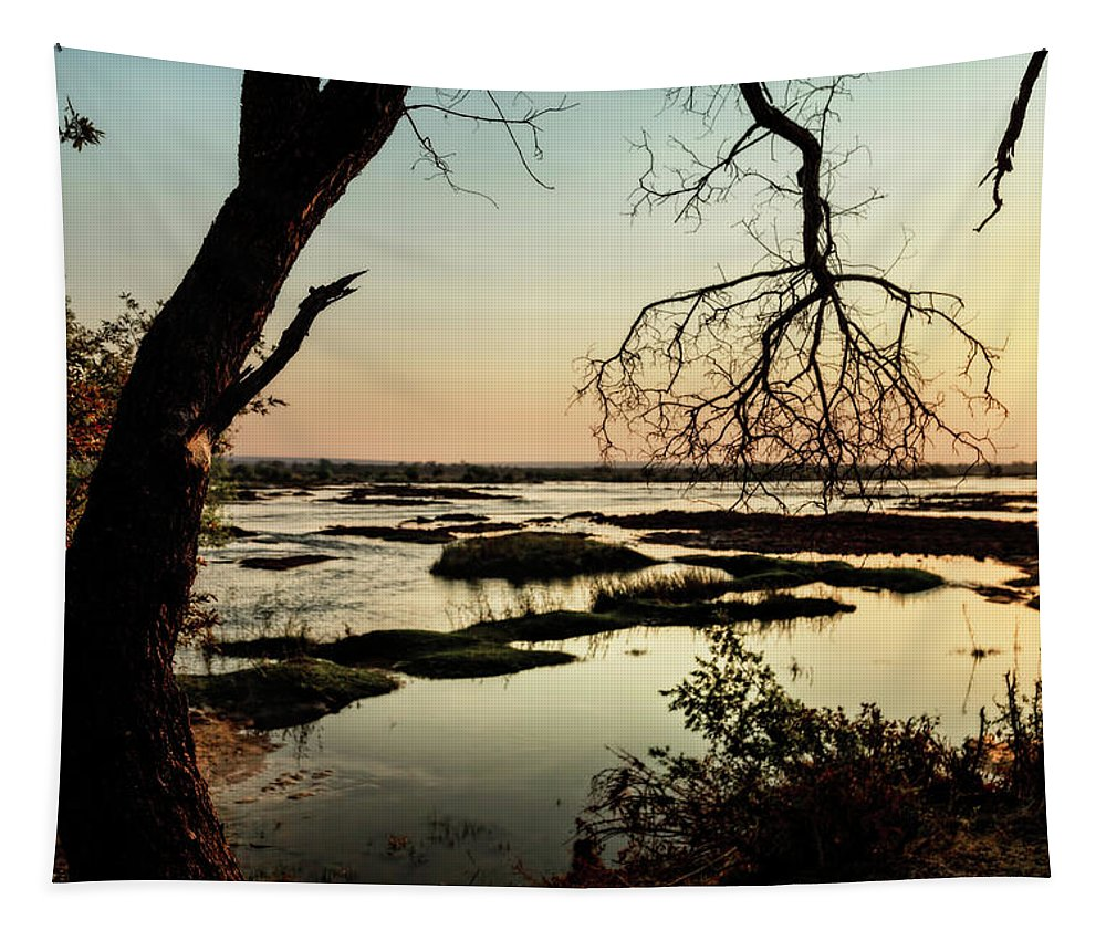 Africa Tapestry featuring the photograph A River Sunset In Botswana by Kay Brewer