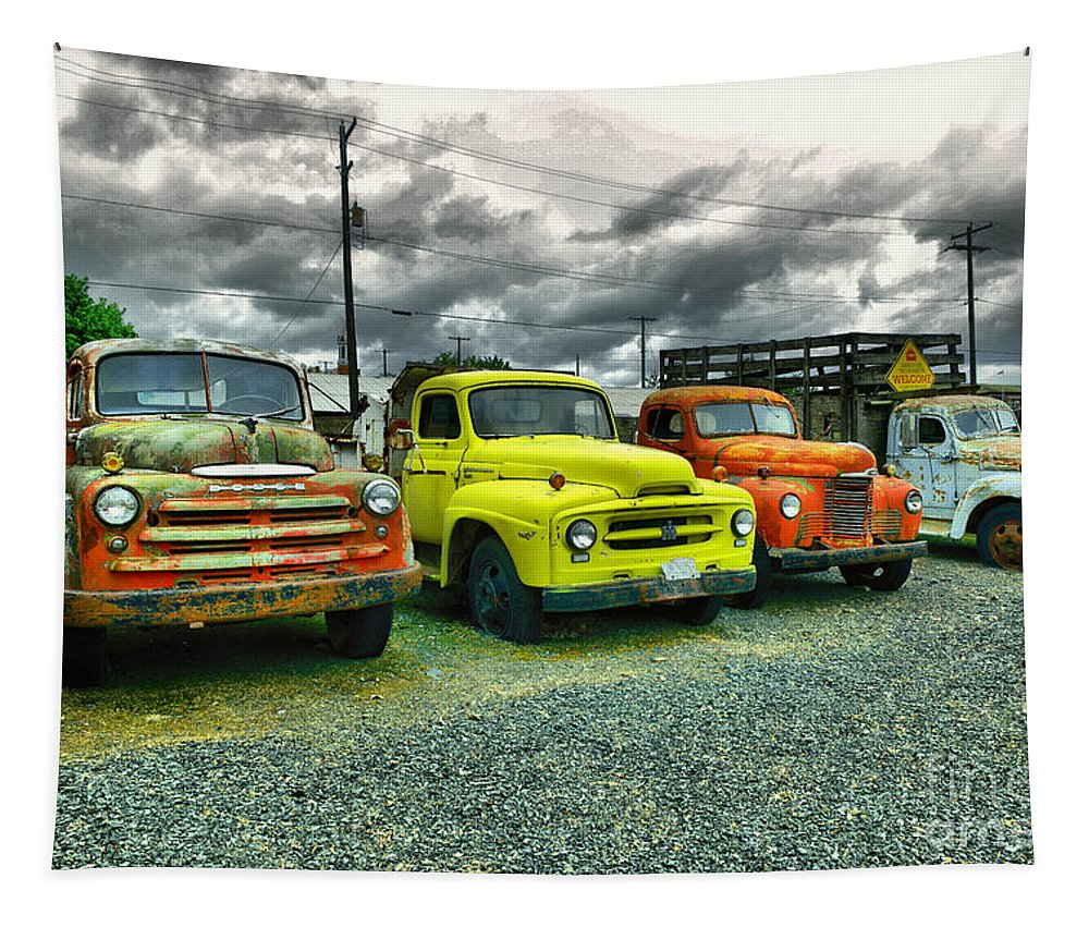 Old Trucks Tapestry featuring the photograph A Row Of Beauties by Jeff Swan