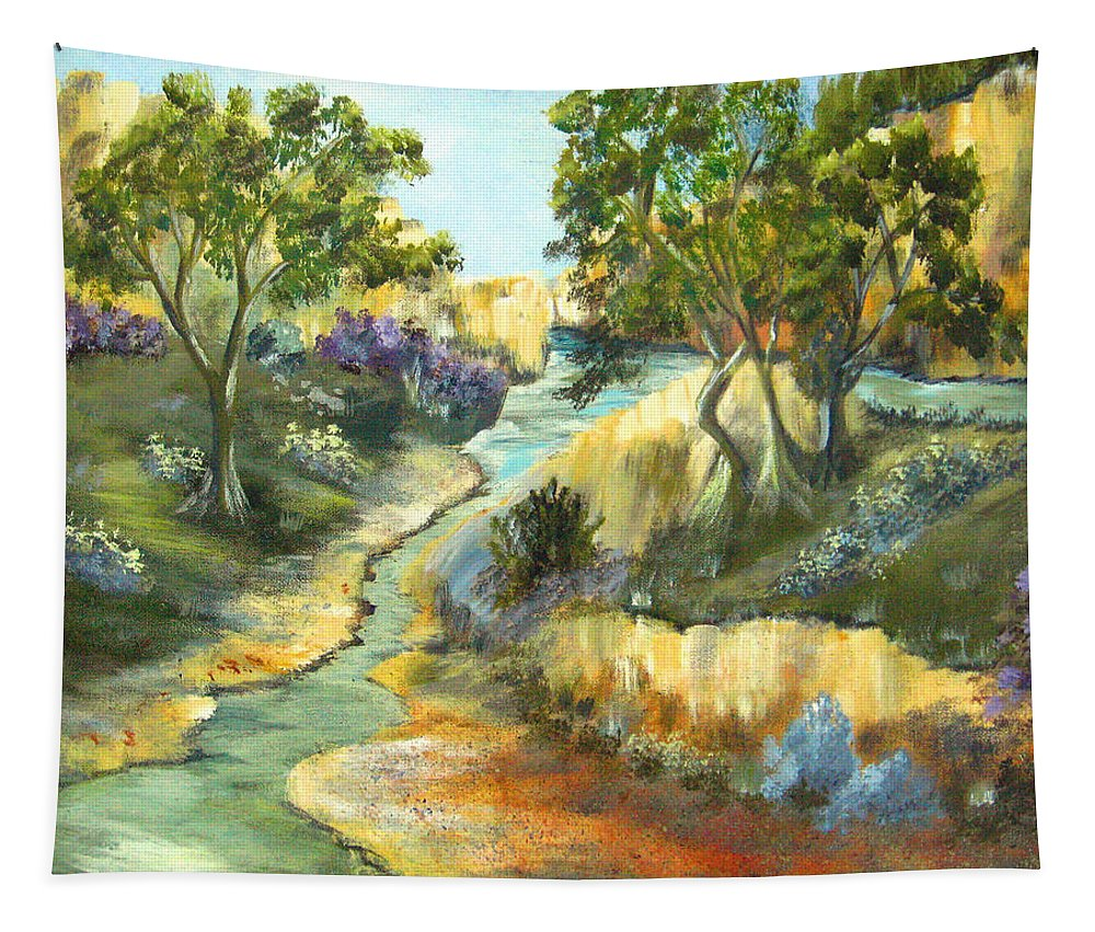 Landscape Tapestry featuring the painting A Sandy Place To Rest by Ruth Palmer