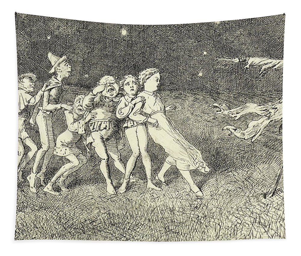 Scarecrow Tapestry featuring the drawing A Scarecrow by Charles Altamont Doyle